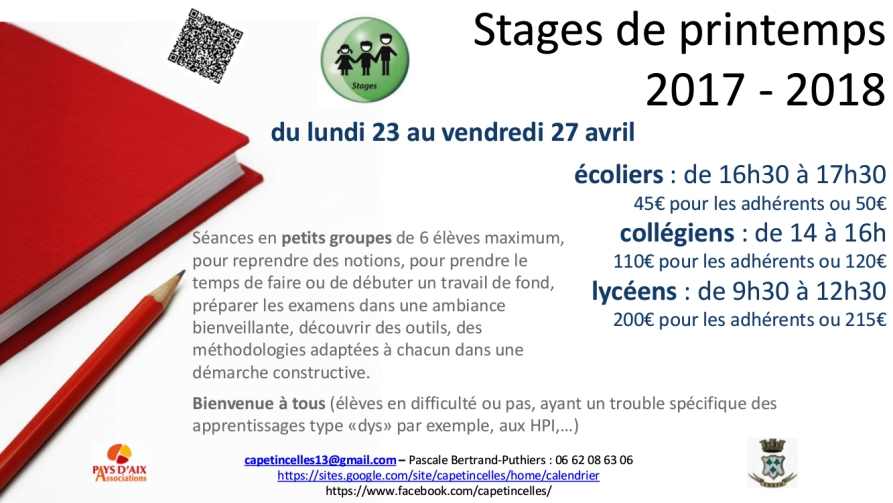 Stages printemps Cap Etincelles 2017 2018