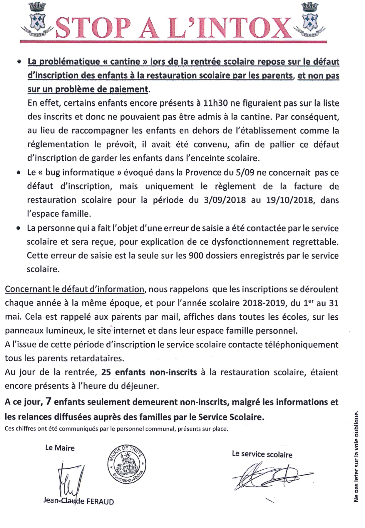 Information Municipale - cantine scolaire